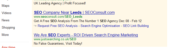 seo leeds results in google