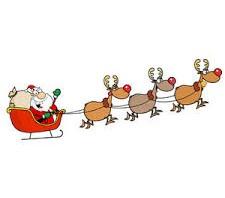 Santa sleigh reindeer christmas