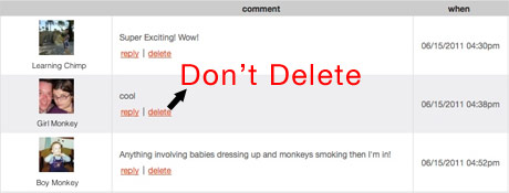 Deleting negative comments