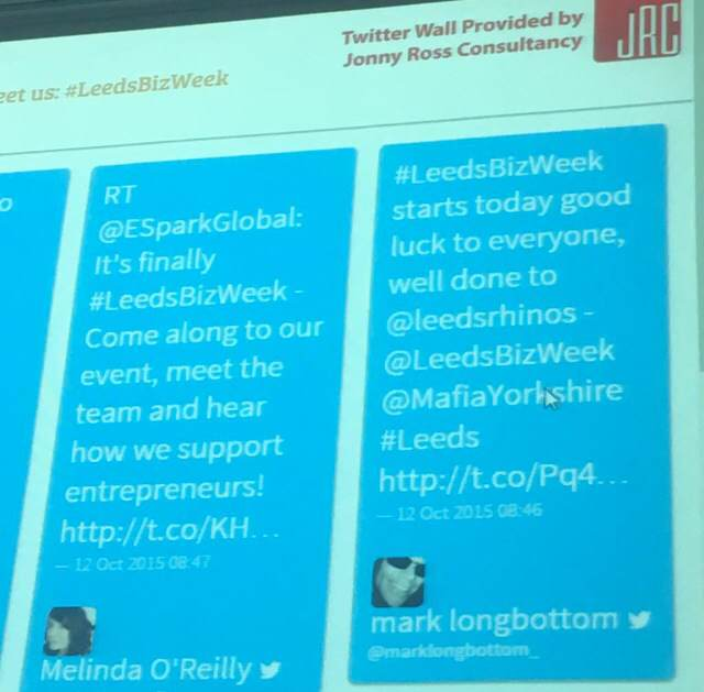 <b>jrc</b>.agency Twitter wall at LeedsBizWeek 15